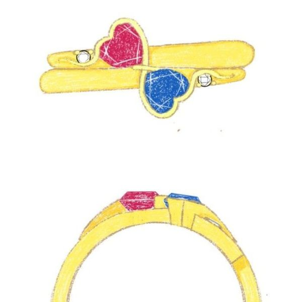 Our team's design sketches for a toi-et-moi style setting with heart cut sapphire and ruby.