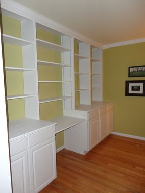 Custom Made Custom Wall Adjustable Shelving With Crown And Desk Top Over Stock Cabinets