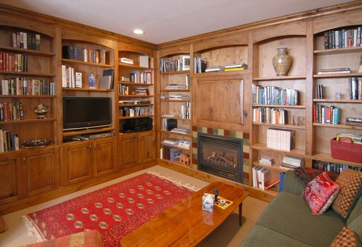 Custom Made Rustic Knotty Alder Library