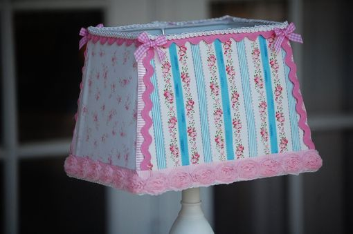 Custom Made Shabby Chic Cottage Rose Lamp With Handmade Vintage Calico Shade
