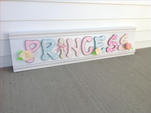 Custom Made Wood Nursery Wall Art Or Girls Room Decor Sign, Letters Pink Blue White Flowers