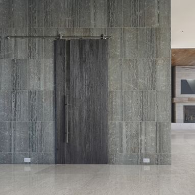 Custom Made Interior Sliding Barn Door With Weathered Reclaimed Look And Textured Surface, Wood And Steel