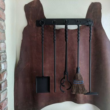 Custom Made Old World Iron 6-Piece Wall Mounted Fireplace Tool Set With Twisted Handles