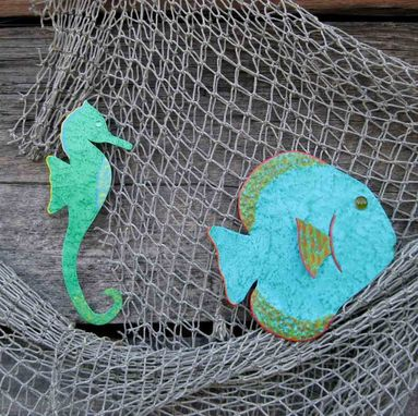 Custom Made Handmade Upcycled Metal Seahorse Wall Art Sculpture In Tropical Green