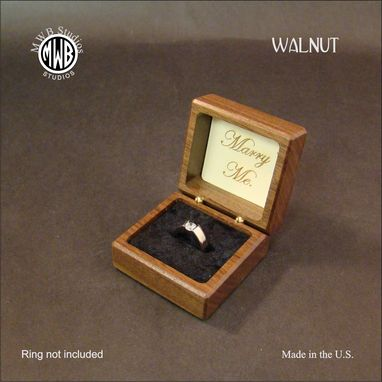 Custom Made Engagement Ring Box With Inlaid Double Hearts. Free Shipping And Engraving. Rb-19