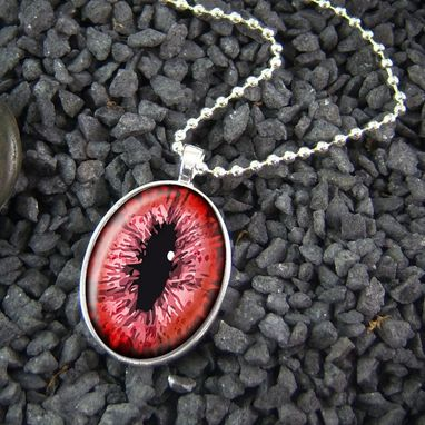 Custom Made Red Dragon Cat Eye Sterling Silver Necklace 09-Son