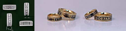 Custom Made Wedding Bands With Black Enamel And Human Hair.