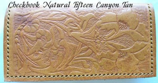 Custom Made Custom Leather Checkbook Cover With Natural 15 Design And In Canyon Tan