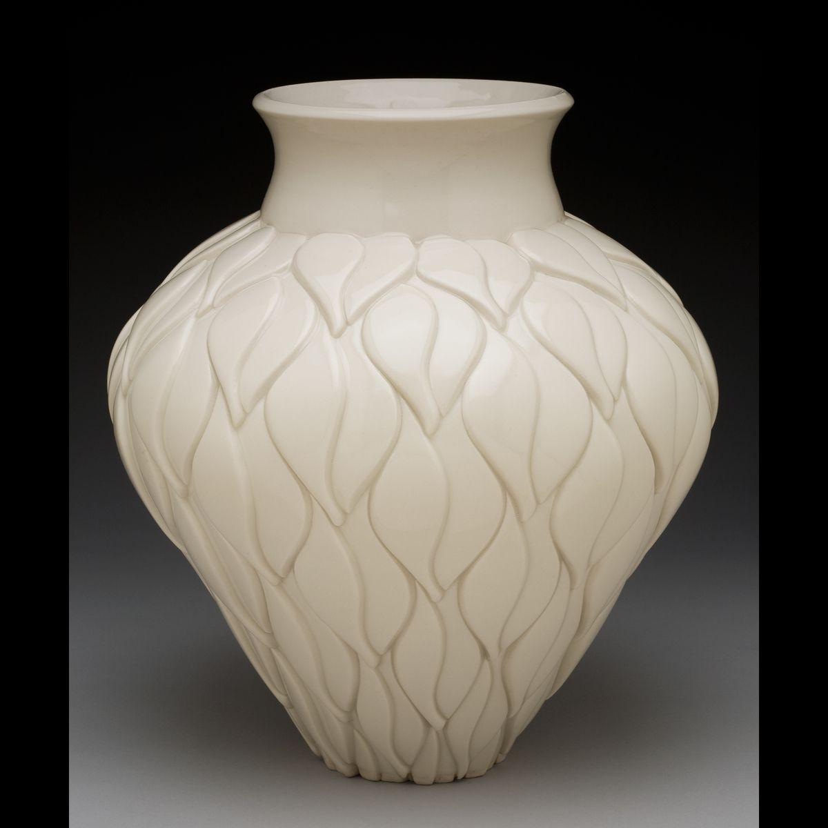 hand made porcelain ceramic vase by lynne meade porcelain  - leaf motif vase porcelain ceramic vase by lynne meade