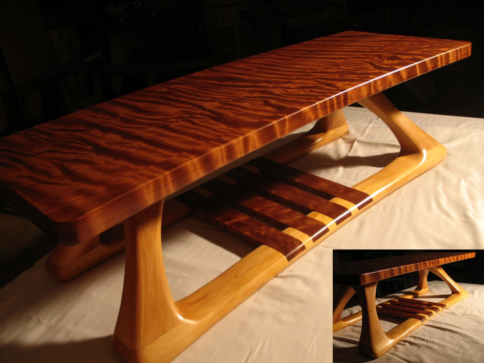 Hand Crafted Curly Redwood And Basswood Coffee Table By Daffinrud Arts