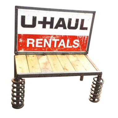 Custom Made Man Cave Furniture Upcycled Garden Bench Metal U Haul Sign