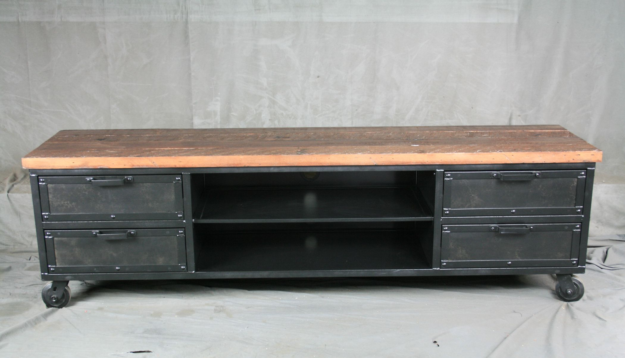 Custom Made Handmade Media Console With Drawers Reclaimed Wood Top Urban Modern Entertainment Center