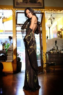 Custom Made Dyed Silk And Lace Backless Gown