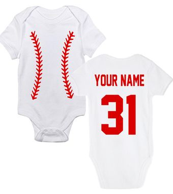 Custom Made Customized Baseball Onesie With Stitches, Name & Number