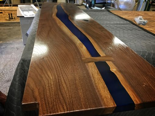 Custom Made Black Walnut & Blue Resin Tv Stand
