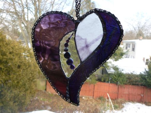 Custom Made Purple-Themed Stained Glass Heart With Beads And Stones