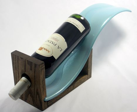 Custom Made Blue Waves And Oak Wine Bottle Display