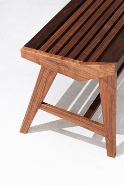 Custom Made Slatted Bench - Mid Century Modern Inspired