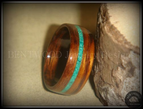 Custom Made Rosewood Wood Ring With Malachite Inlay