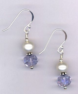 Custom Made Remember Mom ~ Crystal Pearl Sterling Earrings