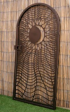 Custom Made Decorative Steel Gate - Twisted Metal Art -  Sun And Moon - Garden Gate - Handmade