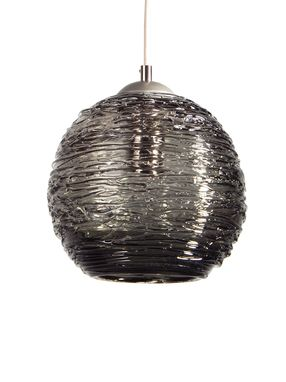 Custom Made Smoke Grey Spun Glass Pendant Light