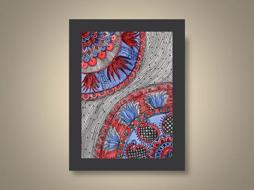Custom Made Fine Art Print Reproduction Paisley- 5x7 Black Ink And Acrylic Painting Blue Red Grey By Devikasart
