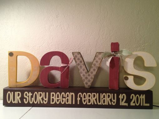 "Custom Made Wood Letters ""Last Name"" With Stand"