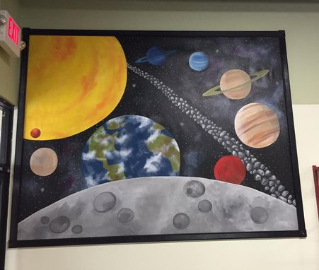 Custom Made Solar System Mural On Canvas 6' Tall By 8' Wide