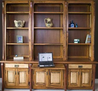 Custom Made Solid Wood Library And Cabinet