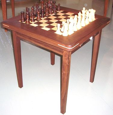Custom Made Black Walnut And Birdseye Maple Chess Table