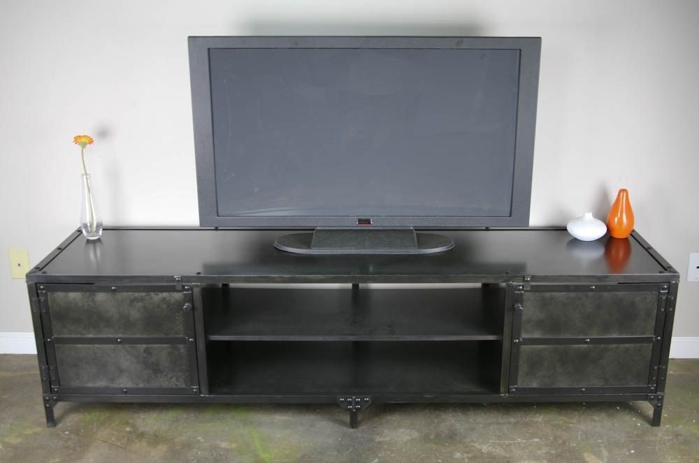 buy a hand made vintage industrial media console tv stand credenza custom sizes urban loft. Black Bedroom Furniture Sets. Home Design Ideas