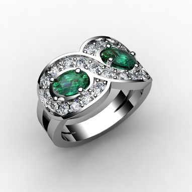 Custom Made Emerald And Diamond Ring