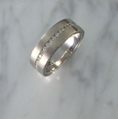 Custom Made Men's Wedding Band With A Lot Of Diamonds!!! 14k White Gold