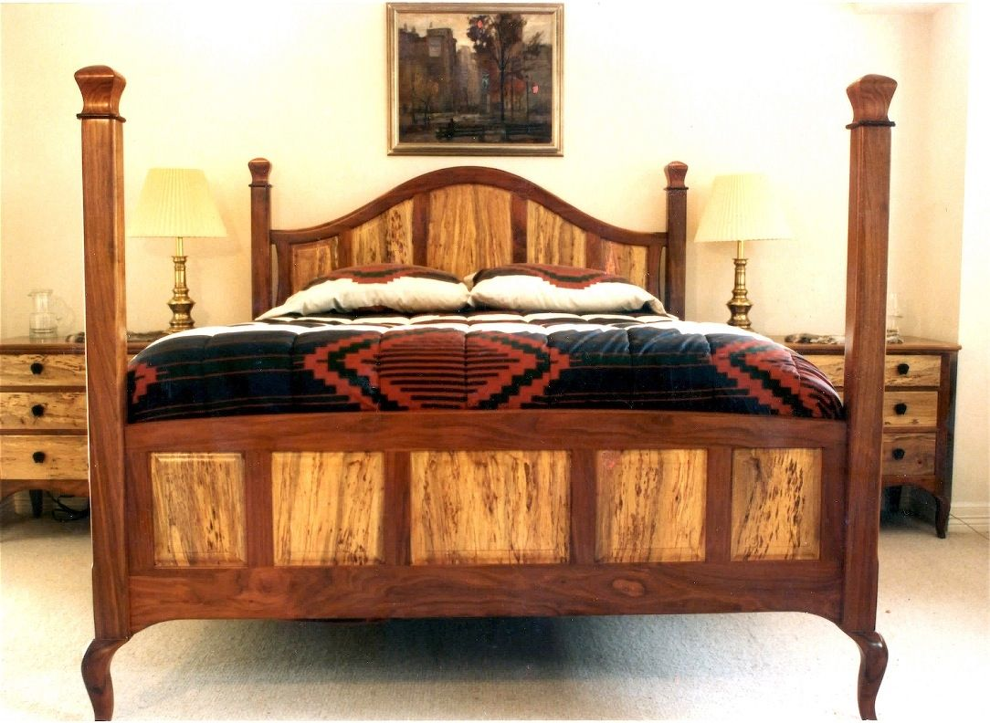 Handmade Walnut Spalted Pecan Four Poster By Louis Fry Craftsman