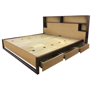 Custom Made Wired Storage Headboard And Platform Bed Walnut And Maple
