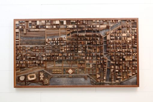 Custom Made Wood Wall Art Of Chicago Cityscape, Made Of Old Barnwood