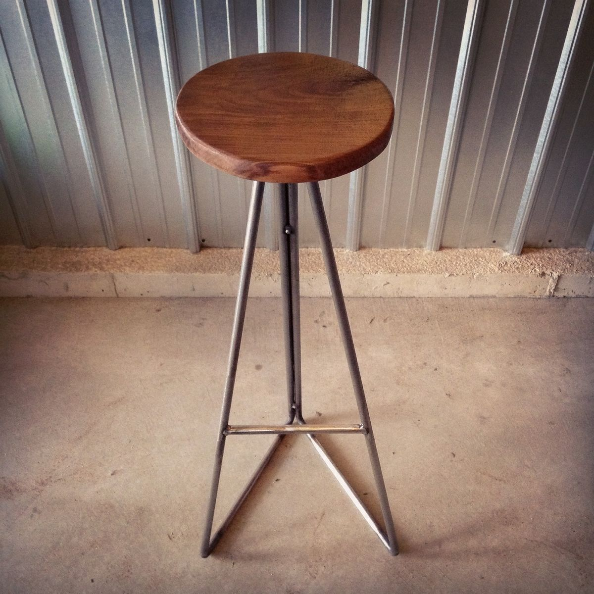 Custom made walnut steel extra tall bar stools