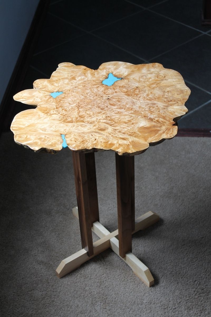 Hand Made Big Leaf Maple Burl Live Edge Coffee Table By