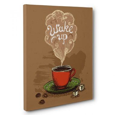 Custom Made Wake Up Coffee Kitchen Canvas Wall Art