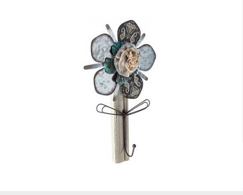 Custom Made Galvanized Metal & Cream Wood Flower Hook