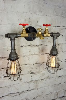 Custom Made Henson Bath/Vanity Light With Wire Cages
