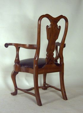 Custom Made Custom Walnut Queen Anne Arm Chair With Leather Seat
