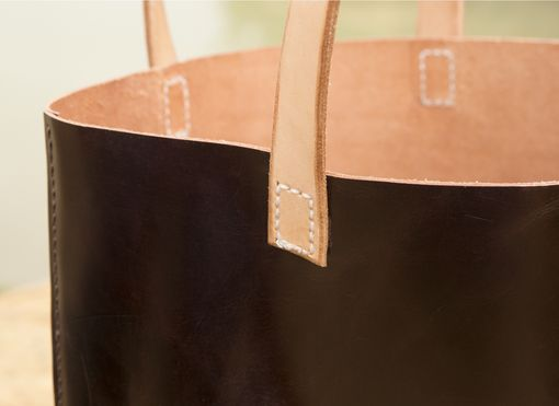 Custom Made Natural Look Genuine Leather Tote Bag