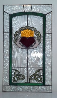 "Custom Made Stained Glass Cabinet Inserts - ""Celtic Heart"" (Ci-14)"