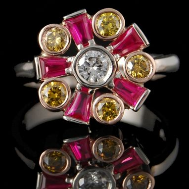 Custom Made 14kw Ruby, Yellow & White Diamond Ring