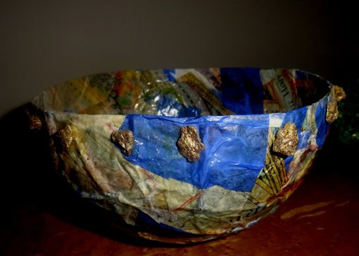 Custom Made Paper Mache Bowl W/Gold Nuggets