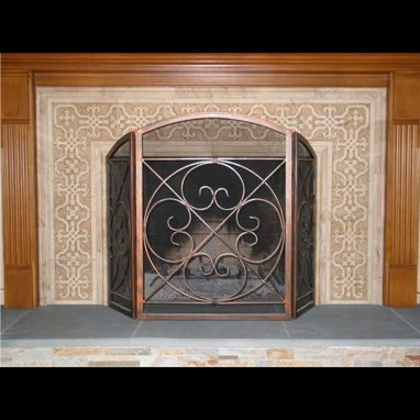 Custom Made Carved Marble Tile Fireplace Surround