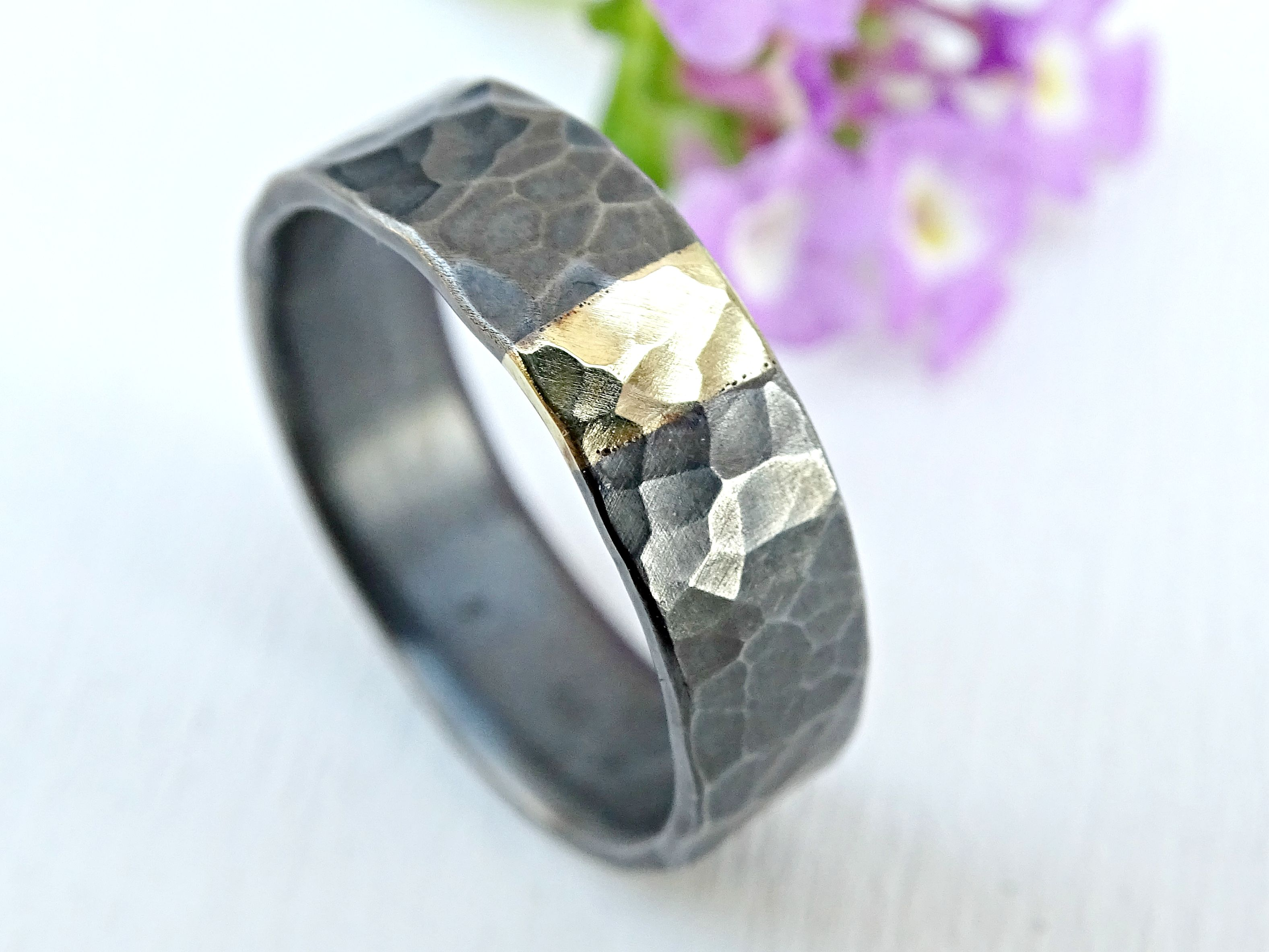 made and crazyassjewelry a hammered mens solid metal wedding tone two ring band silver buy gold mixed custom rings by ri