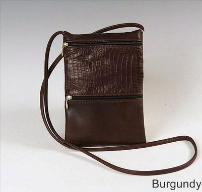 Custom Made Passport Bag, Burgundy Leather